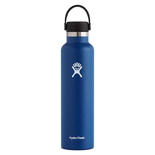Hydro Flask Gourde isotherme 709 ml (24 oz) en acier inoxydable avec isolation sous vide et bouchon Flex Cap étanche, goulot standard, Cobalt