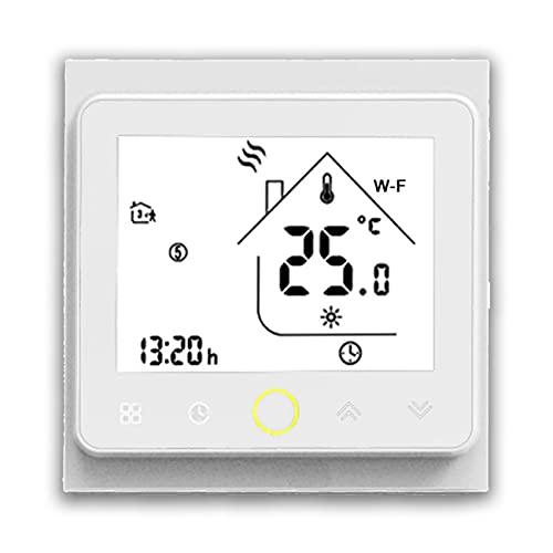 BecaSmart Series 002 Termostato Inteligente Wi-Fi 3A Pantalla táctil LCD Calentamiento de Agua Control de programación Inteligente con conexión WiFi (Calentamiento de Agua, Blanco)