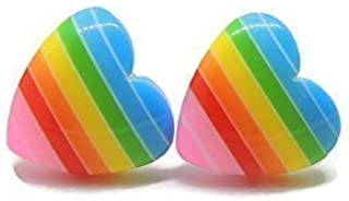 Rainbow Heart Earrings on Hypoallergenic Plastic Posts for Metal Sensitive Ears