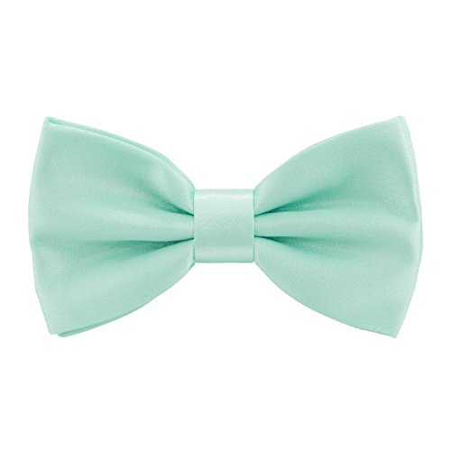 Satin Classic Pre-Tied Bow Tie Formal Solid Tuxedo, by Bow Tie House (Medium, Mint)