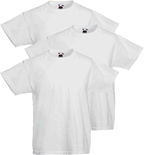 Fruit of the Loom 3 T-Shirt Bambino Original-T (5-6 Anni - Altezza 116 cm, White_30)
