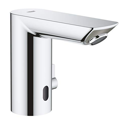 Grohe Bau Cosmopolitan E - Grifo de lavabo electrónico 1/2'' Tamaño M, con Grifo y limitador ajustable de temperatura, color cromo (Ref.36451000)