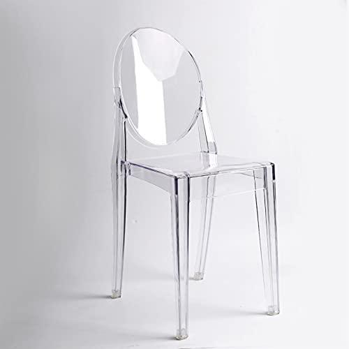 NICEDINING 6pcs Clear Ghost Silla de Comedor plástica Transparente/sillón de vanidad (Color : 6)