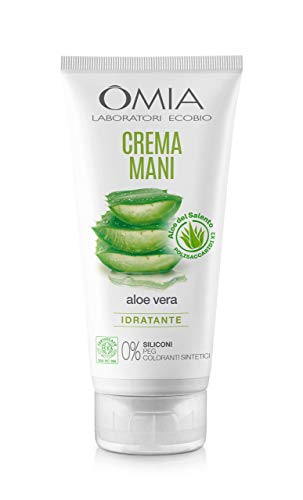 Omia - Crema Mani Eco Bio con Aloe Vera del Salento, Crema Mani Idratante e Riparatrice per un Trattamento Intensivo, Assorbimento Rapido, Non Unge, Dermatologicamente Testato - Flacone da 75 ml