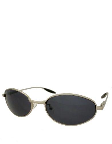 Película de borrador, gafas de sol estilo ovalado, marco plateado/lente de espejo humo