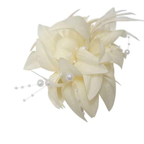 Pritties Accessories Fleur à clipper avec perles et plumes, couleur ivoire