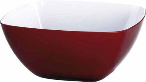 Emsa 504633 Eckiges Schälchen für Salat, Kunststoff, 0.6 Liter, 13.5 x 13.5 x 7 cm, Rot, Vienna