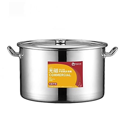 Olla para cocinar al vapor, olla para sopa de acero inoxidable 304 gruesa para catering/hogar con tapa, olla para cocinar, para estufa de gas/cocina de inducción (13-40L) Sartén de cocc