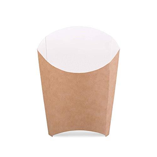 Paquete de 50 cajas de papas fritas de cartón kraft tamaño L portasfichas contenedor de comida rápida desechable caja ecológica reciclable (50, L)
