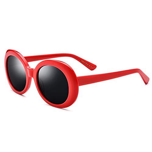 TYXL Sunglasses Placa Elíptica Gafas De Sol Femeninas De Moda Retro Gafas De Sol Polarizadas Hombres Marco Rojo Gris Lente Protección UV400