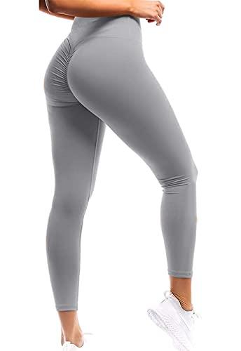 Mallas Pantalones Deportivos Leggings Mujer Yoga Alta Cintura Elásticos Transpirables Yoga Fitness Color sólido Relieve Push UP Gris XS