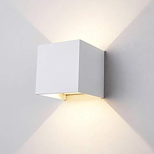 12W Lampade da Parete in Alluminio Angolo Su e Giù Regolabile Moderno Design,Lampada Muro Impermeabile IP65 3000K, Bianco