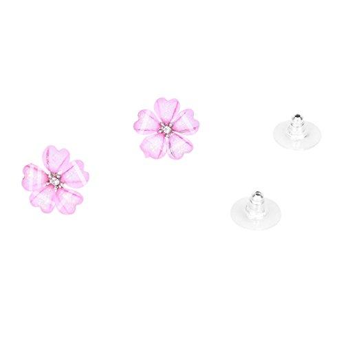 Camisin Pendientes de Perno Prisionero de Oreja de estras de Cristal de Flor para Mujer Rosado