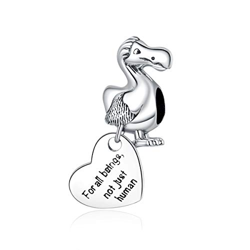 925 Sterling Silver Dodo with Heart Pendant Animal Charm for Original DIY Bracelet Jewellery