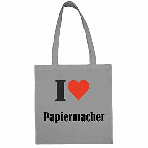 Tasche I Love Papiermacher Größe 38x42 Farbe Grau Druck Schwarz
