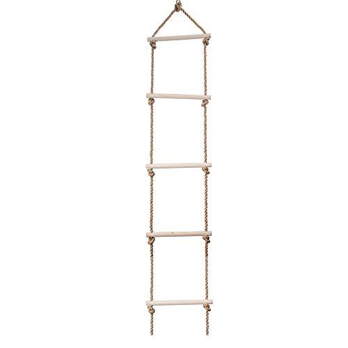 ZJJ Kid Climbing Rope Ladder, 5 Rung Holzseilleiter Swing hängt bis zu 1,75 m für Baby Climbing Frame Tree House Den Garden