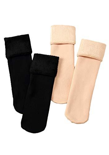 YMING Frauen Warme Socken Gerage Socken Dickere Samt Socken 4 Paar Schwarz und Nackt