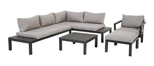 Gartenfreude Aluminium Lounge Ambience, flexibel einsetzbar mit wasserabweisenden Kissen, Dunkelgrau/Hellgrau Möbel-Set, Sessel + Hocker