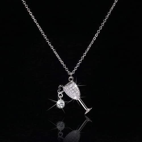 Kpcxdp Collar de Moda Simple Mujeres de Plata Elegante Collar Creativo Brillante Cristal Vintage Glamour Colgante Collar Ciudad Castillo
