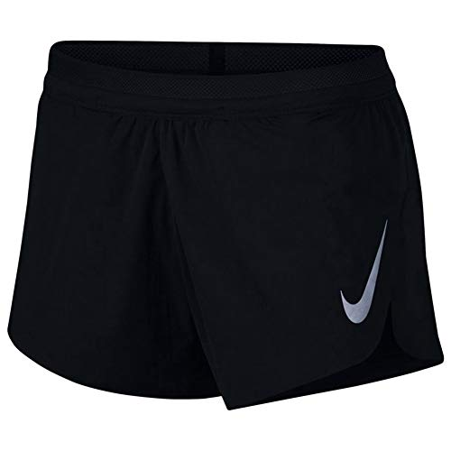 Nike W NK Aroswft Track Short Pantalon Femme, Noir/argenté réfléchissant, L