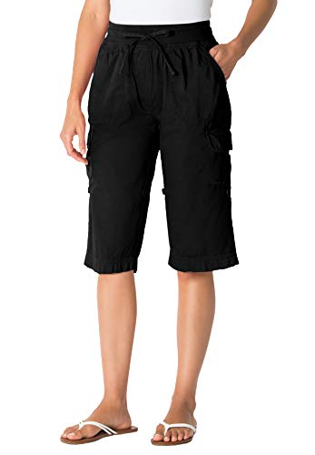 Woman Within Women's Plus Size Convertible Length Cargo Short - 18 W, Black