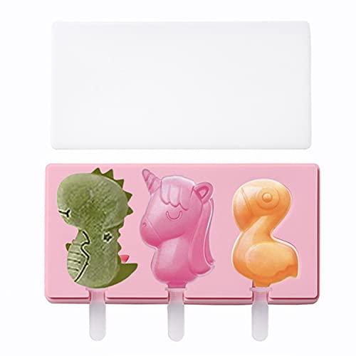 Olywee Moldes para paletas de silicona, con tapa y palos, forma de dinosaurio, unicornio y flamenco, fácil liberación sin BPA (rosa)
