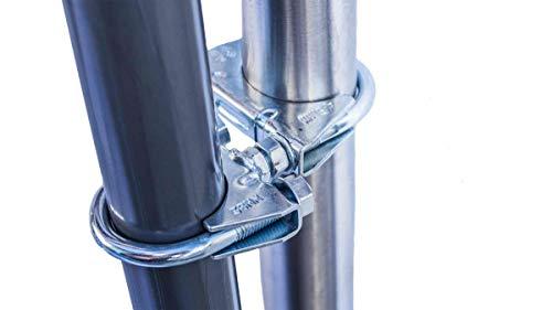 STORM-PROOF - Schirmhalter runde Geländer, Schirmstock 38mm bis 45mm, stabile 2-Punkt-Befestigung aus verzinktem Stahl, für Schirme bis 3,5m Durchmesser und Ampelschirme bis 3m Durchmesser