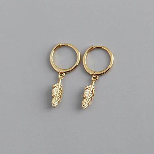 GenericBrands Pendientes de Plata de Ley 925, Pendientes de aro Redondos con Plumas para Mujeres de Moda, Bonitos Accesorios de joyería Fina, Oro