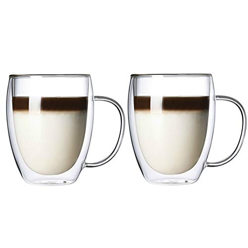 Juego de 2 tazas de café de vidrio con aislamiento térmico de doble pared, tazas de café de vidrio (350 ml)