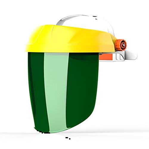 BGF フェイスシールド、ヘッドマウント溶接ヘルメット、耐衝撃性、化学スプラッシュ抵抗、オイルヒューム (色 : Yellow top green screen)
