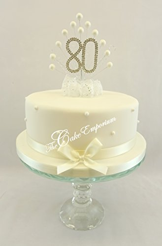 Karen's Cake Toppers Décoration perle Burst Vaporisateur Diamante perles Ivoire 80e Anniversaire