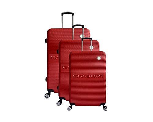 Juego de maletas Milan, ABS, 75 cm, 65 cm, 55 cm, color rojo