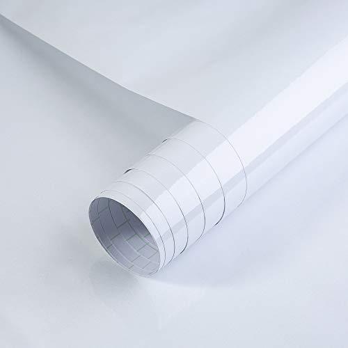 SOLDGOOD 5.5×0.61M Papier Adhesif, PVC adhésif film Sticker Mural Etanche Décoration pour Armoire Cuisine Meuble pour Frigo Placard Blanc