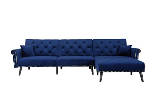 Veryke PU Combination Sofa Modern Velvet Futon Sofa Reversible Sofa Chaise Convertible Sectional Sofa Bed with Comfortable Cushion,3 Seat & L-Shaped Navy Blue