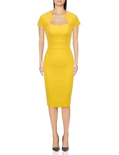 Women's 50s Vintage Pencil Dress Cap Sleeve Wiggle Dress Yellow