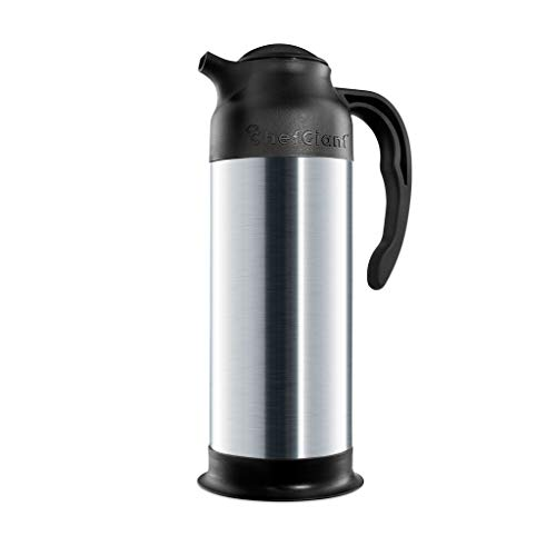 Thermal Coffee Carafe 33 OZ. 1 Liter 4 CUP Premium Small Design for Easy Handle & Travel Milk Server Stainless Steel Insulated Hot & Cold Beverage Pitcher Dispenser