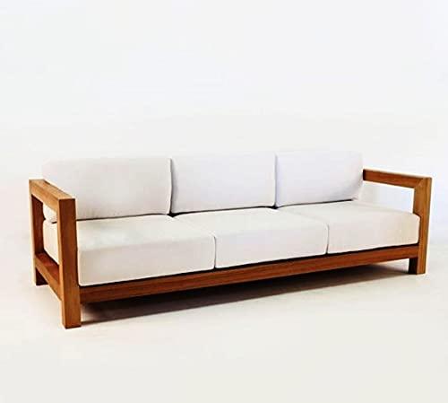 Casa Padrino Garten 3-er Sofa Rustikal 'Boston' Weiss-Creme/Braun 200 x 40 x H70 cm - Echtholz Möbel Massiv