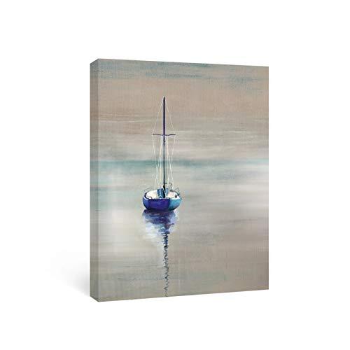 """N/A Quadri Moderni Decorativi Twilight Cruis Art Mural Toile Peinture Bleu Salle De Bain Imprime Voilier Affiches Et Image Pour Chambre Plage Maison Décor 20""""x28"""""""