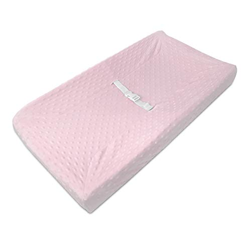 American Baby Company Heavenly Soft Minky Dot Fitted Contoured Changing Pad Cover, Pink Puff, for Girls