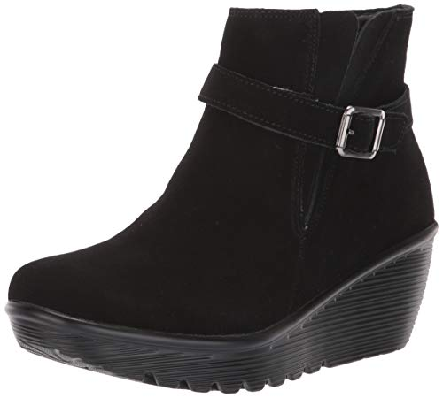 Skechers Women's Parallel-Buckle Strap Side Gore Zip Up Wedge Casual Comfort Ankle Boot Fashion, Black/Black, 11 M US