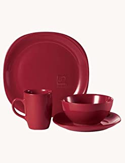 Thomson Pottery Quadro Red 16 PC Dinnerware Set Service For 4