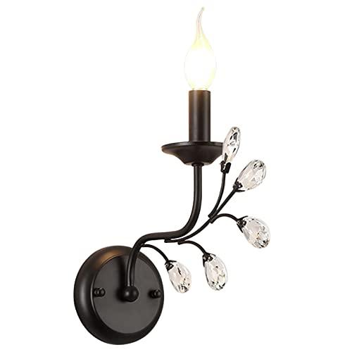 TAMRG Vägglampa vintage vägglampa kristall nattbord lampa svart vägglampa för vardagsrum, sovrum, byrå vardagsrum matsal restaurang arbetsrum