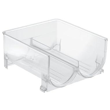 InterDesign Stackable Wine Storage Rack – Free Standing Organizer for Refrigerator or Kitchen Countertops - Holds 2 Bottles, Clear