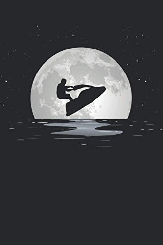 Notebook with 120 Pages Squared: Jetski Silhouette in the Moon Shine Design Gift I Grid Journal I 6x9 Inches