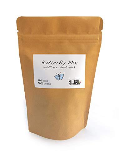 Wildblumensamen Grab Bag | 100 Knäuel | 3000 Samen | 5 m² oder 15-25 Töpfe | leicht zu säen | kein Graben | keine Nachpflege | Bienen- und Schmetterlingsfreundlich