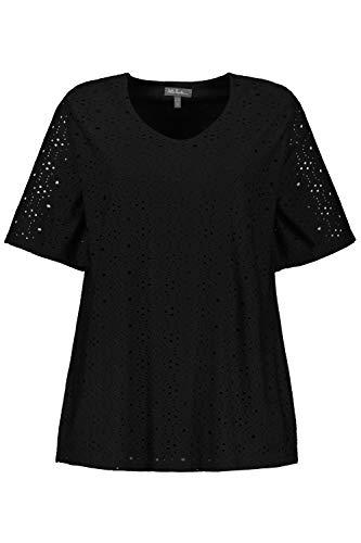 Ulla Popken Damen große Größen Übergrößen Plus Size T-Shirt, Lochstickerei, Classic, Jerseyfutter schwarz 50/52 747208 10-50+