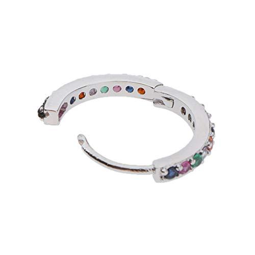 N/A/a Aro CZ Pendientes de Circonita Cúbica con Bisagras Puño Huggie Piercing Pendientes Joyería - Plata 10mm