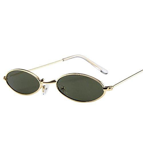 VENMO Mode Herren Retro kleine ovale Sonnenbrille für Damen Metallrahmen Shades Brillen Katzenauge Metall Rand Rahmen Damen Frau Mode Sonnebrille Gespiegelte Linse Women Sunglasses (F)