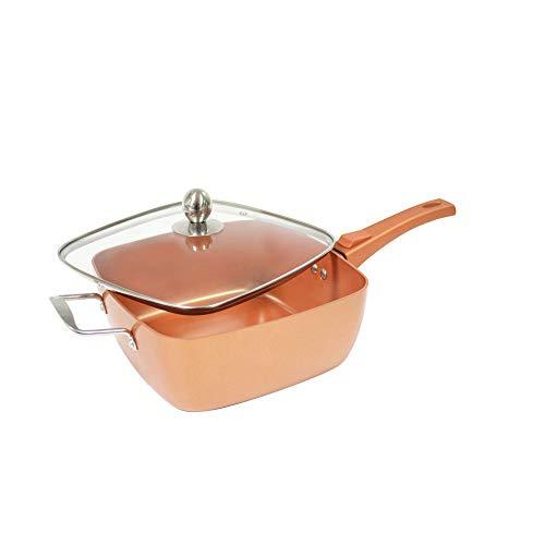 starlyf® Square Copper Pan profondità padella quadrata 24x 24x 9.5cm con rivestimento antiaderente originale in TV