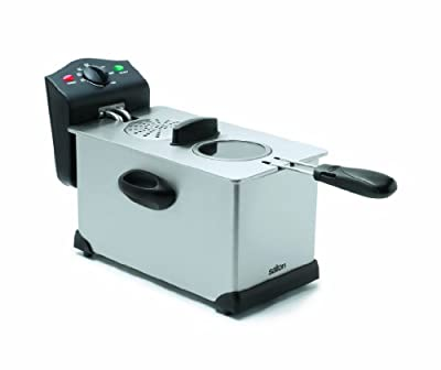 Salton Stainless Steel Deep Fryer, 3 Liter Oil Capacity with Wire Mesh Basket, Adjustable Temperature Control and Ready Lights, Completely Detachable Parts for Easy Clean Up, 1700 Watts (DF1233)